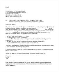 Employment Verification Letter For Immigration Sample Professional
