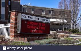 29 de abril de 2020, Soldier's Home, Holyoke, Massachusetts, EE.UU.: Signo  de Soldier's Home, Holyoke.