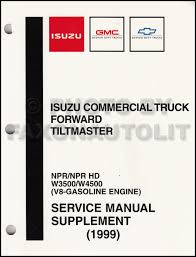 1999 2000 isuzu npr w3500 w4500 gas repair shop manual original 1998 npr w4 4000 gas shop manual original supplement