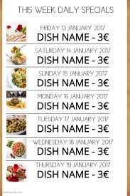 specials menu daily specials menu template postermywall