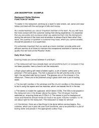 Sample Waitress Job Description For Resume Job And Resume Template