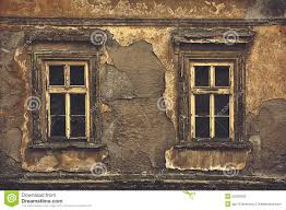 Old Windows Old Windows On Ruined House Exterior Wall Stock Photo Image