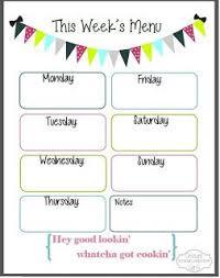 Free Printables Menu Planning Printable Weekly Menu