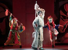 "review m butterfly returns to broadway on heavier wings the  excerpts from a chinese opera featuring song liling center are dotted throughout ""m butterfly "" credit sara krulwich the new york times"