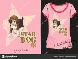流行のベクトル イラスト スケッチ碑文ファッションの小さな犬と