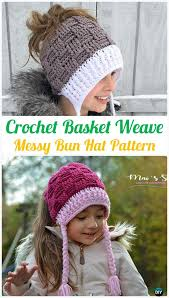 Free Crochet Pattern For Messy Bun Hat Cool Crochet Ponytail Messy Bun Hat Free Patterns [Instructions]