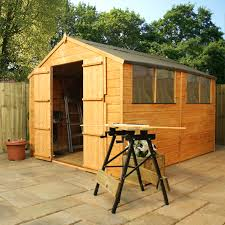escape 10 x 8 tongue and groove wooden apex garden shed with 4 windows and double doors 10mm solid osb floor 48hr sat delivery