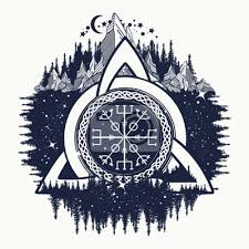 Nálepka Celtic Trojice Uzel Helm Of Hrůza Aegishjalmur Tetování