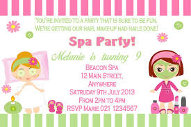 Personalised Spa Pamper Party Theme Invitation