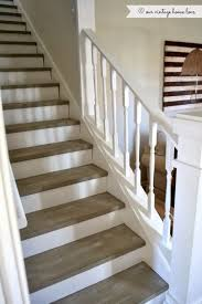 the stairs were painted with annie sloan chalk paint in french linen distressed then