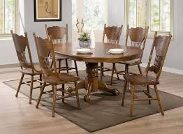 Oak Round Dining Table And Chairs Coaster Brooks Oak Finish Round Oval Dining Table With Single