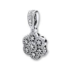 pandora necklace charm crystalized fl sterling silver
