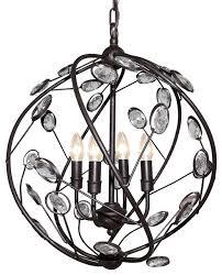lnc metal and acrylic globe 4 lights pendant light