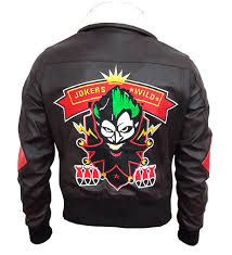harley quinn squad shell faux leather jacket design back