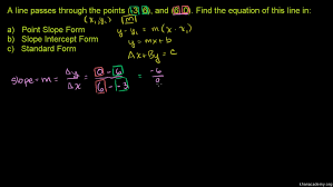 writing linear equations in all forms khan academy point slope form calculator symbolab 6fu2t point