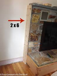 diy fireplace makeover framing over vents