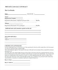 Purchase Agreement Vehicle Private Car Sale Contract Template Free Private Car Sale Contract
