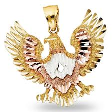 eagle charm 14k solid yellow white rose gold bird pendant diamond cut tri color