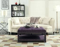 iconic home coffee table ottoman tufted linen upholstered trim 2 layer bench purple nailhead cainhoe trunk