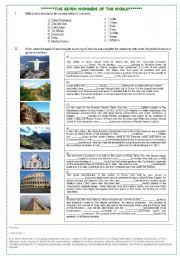 english teaching worksheets wonders of the world english worksheets the seven wonders of the world