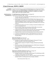 sample social work resume