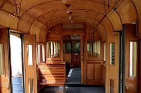 the ceiling in this reconditioned melbourne trolley is varnished birch