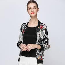 <b>100</b>% <b>Silk Jacket Women</b> Lightweight Fabric Printed Long Sleeves ...