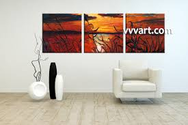 Paintings For Living Room Triptych Ocean Sunset Oil Paintings Red Canvas Wall Art