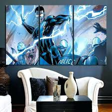 comic wall art 3 panel black lightning comic wall art canvas comic book wood wall art