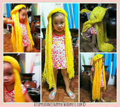 apple pie and her uber yellow rapunzel wig