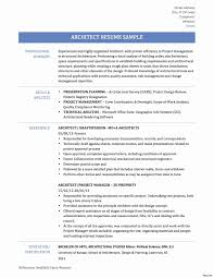 Sample Construction Resume Fresh Beautiful Architectural Resume