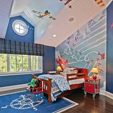 Kids Room Wooden Bed Frame And Roman Blinds For Window Treatment
