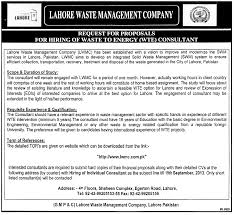consultants jobs for lahore waste management company