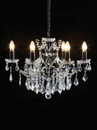 eden black 6 light shallow glass crystal chandelier