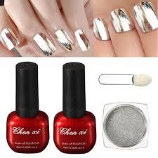 Stříbrný Magický Zrcadlový Práškový Uv Gelový Vrchní Nátěr Brusného Setu Glitter Prachový Lesk Chromový Přísadový Pigment