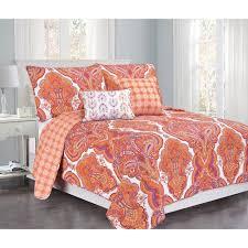 brilliance paisley full queen orange c with pillow 5 piece cotton quilt set