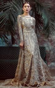 Best Designer Wedding Dresses In Pakistan Moon Dust Champagne Color Beaded Pakistani Bridal Dress