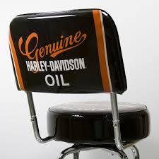 Harley Davidson Motor Oil Can Bar Stool with Backrest
