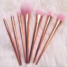 7 pc rose gold metallic makeup brush set