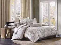 com echo design odyssey king size bed comforter set grey paisley 4 pieces bedding sets 100 cotton bedroom comforters home kitchen