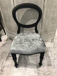 black crushed velvet dressing table hall bedroom chair with diamanté detail