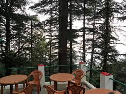 Eating corner facing forest, Tushita Meditaion Center, Dharamkot, Himachal Pradesh