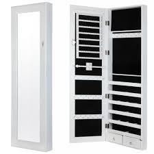HomegearModernDoorWallMountedMirroredJewelryCabinet Wall Mounted Jewelry Cabinet E73
