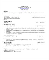 Undergraduate Resume Template Free Examples Of Resumes Undergraduate  Student Resume Example 9 Free