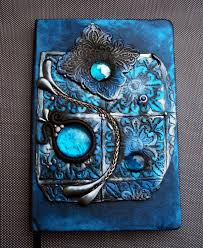shimmery blue journal with polymer clay cover by mandarinmoon