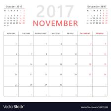 Calendar Planner 2017 November Week Starts Monday Vector Image