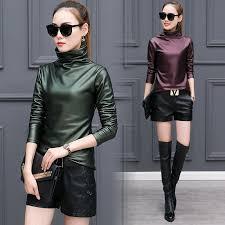 plus size 4xl t shirts women harajuku y long sleeve turtleneck velvet t shirt female tops american apparel pu leather