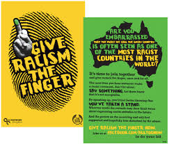 how should we discuss racism in right now poster art saying give racism the finger