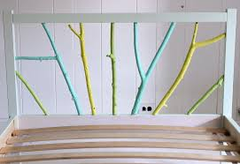 picture of ikea painted branch bed frame