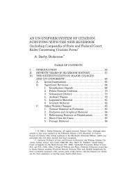 An Un Uniform System Of Citation Bluebook Rules Concerning Citation